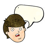 Cartoon man with big chin with speech bubble Royalty Free Stock Image