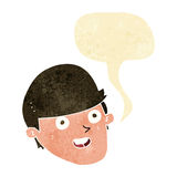 Cartoon man with big chin with speech bubble Royalty Free Stock Photography