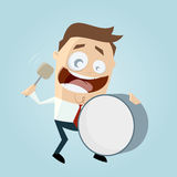 Cartoon man with big drum Royalty Free Stock Images