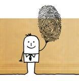 Cartoon man with big fingerprint. Illustration Royalty Free Stock Photo