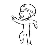 Cartoon man in bike helmet pointing Royalty Free Stock Images