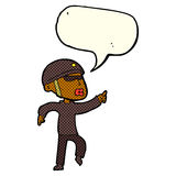 Cartoon man in bike helmet pointing with speech bubble Stock Photo