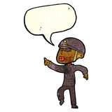 Cartoon man in bike helmet pointing with speech bubble Royalty Free Stock Image