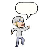 Cartoon man in bike helmet pointing with speech bubble Stock Images