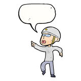 Cartoon man in bike helmet pointing with speech bubble Royalty Free Stock Images
