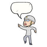 Cartoon man in bike helmet pointing with speech bubble Stock Photography