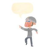 Cartoon man in bike helmet pointing with speech bubble Stock Photo