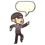 Cartoon man in bike helmet pointing with speech bubble Stock Photos