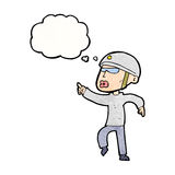 Cartoon man in bike helmet pointing with thought bubble Royalty Free Stock Image