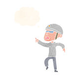 cartoon man in bike helmet pointing with thought bubble Royalty Free Stock Images