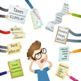 Cartoon man bills stress payment demands. Vector illustration of a cartoon character: Frustrated man hassled by creditors holding bills, signs, payment demands Stock Images