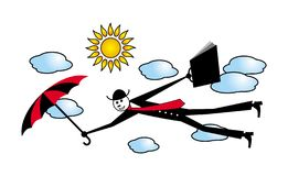 A cartoon man in a black suit with a briefcase and umbrella is flying among the clouds. The metaphor of growth and achievements. H. Umor. Vector picture vector illustration