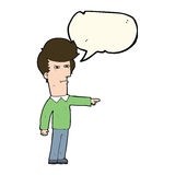 Cartoon man blaming with speech bubble Royalty Free Stock Image