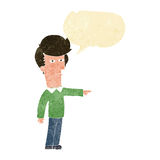 Cartoon man blaming with speech bubble Stock Image