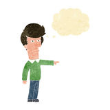 Cartoon man blaming with thought bubble Royalty Free Stock Photo