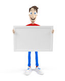 Cartoon man with blank board Royalty Free Stock Photography