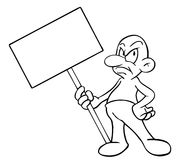 Cartoon man with blank sign. A drawing of a cartoon figure Moertel, holding a blank signboard Royalty Free Stock Photos