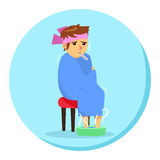 Cartoon man in blanket feeling ill with thermometer in his mouth Stock Images
