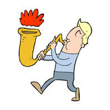 Cartoon man blowing saxophone Royalty Free Stock Photography