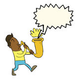 Cartoon man blowing saxophone with speech bubble Royalty Free Stock Photo