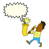Cartoon man blowing saxophone with speech bubble Royalty Free Stock Images