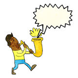 Cartoon man blowing saxophone with speech bubble Stock Photography