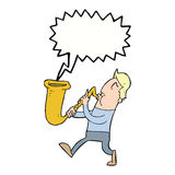 Cartoon man blowing saxophone with speech bubble Royalty Free Stock Image