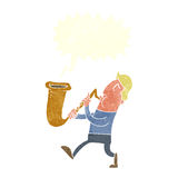 Cartoon man blowing saxophone with speech bubble Stock Photos