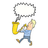 Cartoon man blowing saxophone with speech bubble Royalty Free Stock Photography