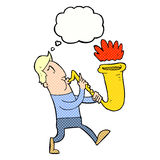 Cartoon man blowing saxophone with thought bubble Stock Photo
