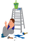 Cartoon man in blue sleeveless top with injured finger sitting n Stock Photography