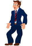 Cartoon man in blue suit striped tie and open mouth Stock Photo