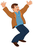 Cartoon man in blue sweater and brown jacket holding happily han Royalty Free Stock Images