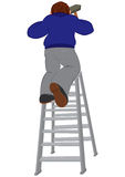 Cartoon man in blue sweater with hummer on the ladder Royalty Free Stock Photography