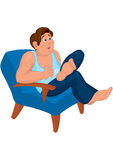 Cartoon man in blue top sitting in armchair with open mouth Stock Photos