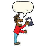 Cartoon man with book with speech bubble Royalty Free Stock Photo