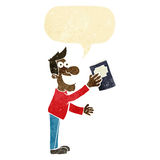 Cartoon man with book with speech bubble Stock Images