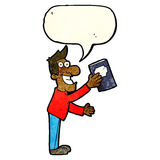 Cartoon man with book with speech bubble Stock Photography