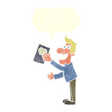 Cartoon man with book with speech bubble Stock Image
