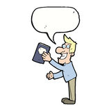 Cartoon man with book with speech bubble Royalty Free Stock Image