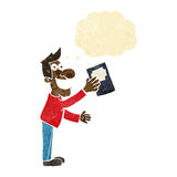 Cartoon man with book with thought bubble Stock Photo
