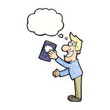 Cartoon man with book with thought bubble Stock Image