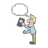 Cartoon man with book with thought bubble Royalty Free Stock Photo