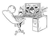 Cartoon of Man or Boy Playing Computer Game. Cartoon stick man drawing conceptual illustration of man or boy playing computer game Stock Photo
