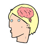 Cartoon man with brain symbol Stock Photos