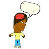 Cartoon man with brain symbol with speech bubble Stock Photo