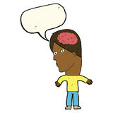 Cartoon man with brain symbol with speech bubble Stock Images