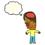 Cartoon man with brain symbol with thought bubble Stock Photo