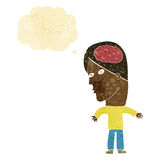 Cartoon man with brain symbol with thought bubble Royalty Free Stock Image