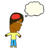 Cartoon man with brain symbol with thought bubble Royalty Free Stock Photos